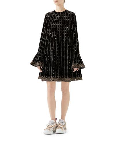 Trumpet-Sleeve Embellished Velvet Trapeze Dress