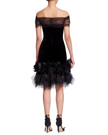 Off-the-Shoulder Velvet Cocktail Dress w/ Flowers & Tulle
