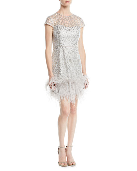 Short-Sleeve Fitted Beaded  Cocktail Dress w/ Feather Hem