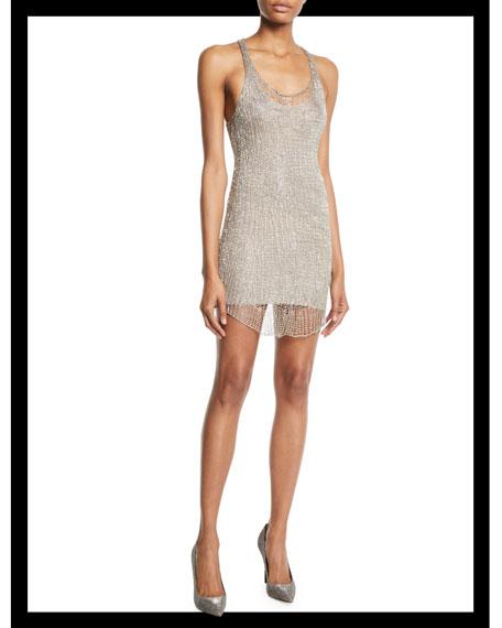 Scoop-Neck Sleeveless Racerback Body-Con Metal Mini Cocktail Dress, Silver
