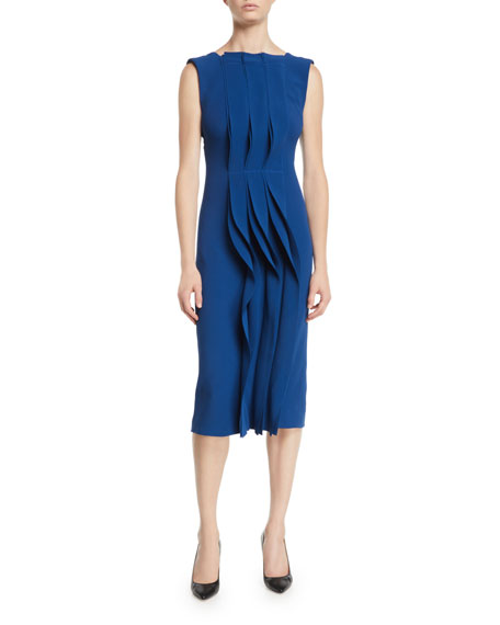 Image 1 of 1: Ruffled-Front Sleeveless Stretch-Cady Cocktail Dress