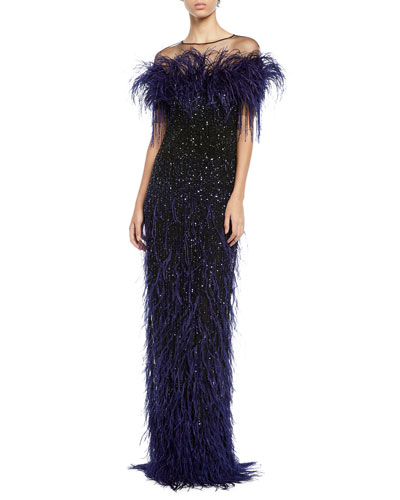 Feather & Sequined Illusion Gown