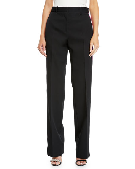 Side-Stripe Straight-Leg Wool/Silk Pants