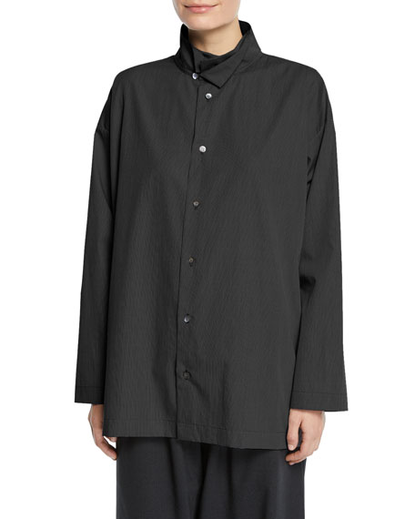 Micro-Check Double-Collar Button-Front Blouse, Black