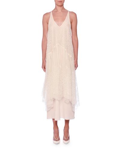 Embroidered Mesh-Overlay Midi Dress