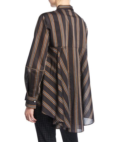 Monili-Striped Striped Organza Button-Front Blouse