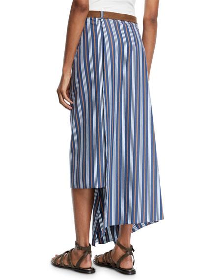 Striped Cotton Wrapped Midi Skirt