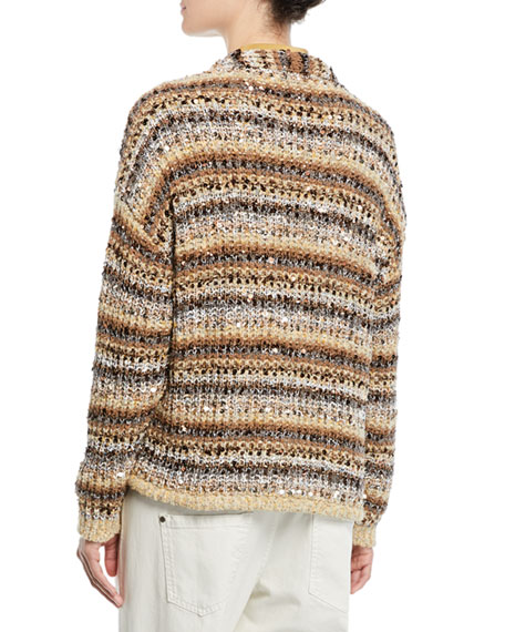 Sequined Striped Cotton-Net Cardigan
