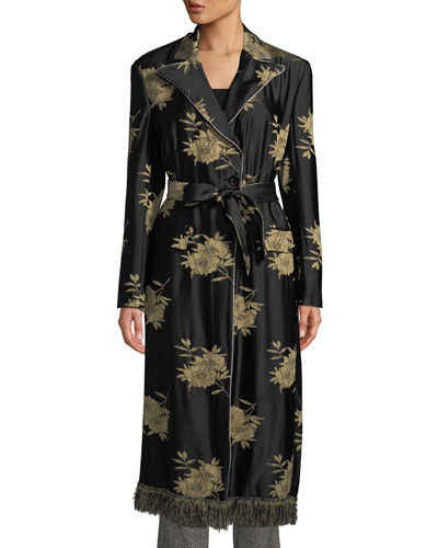 Floral Jacquard Trench Coat