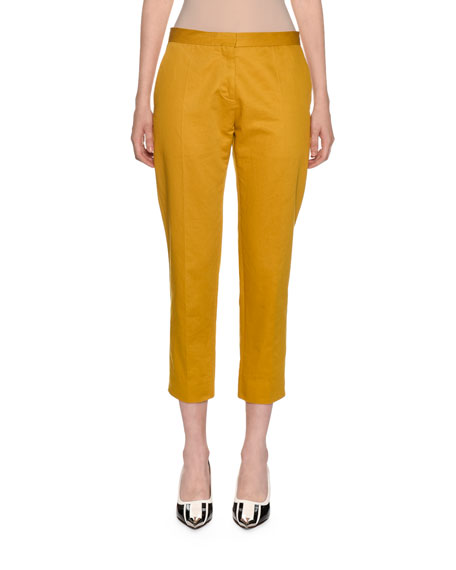 Image 1 of 1: Cotton-Linen Cropped Trousers