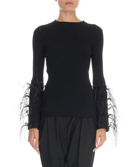 Feather-Cuff Crewneck Sweater