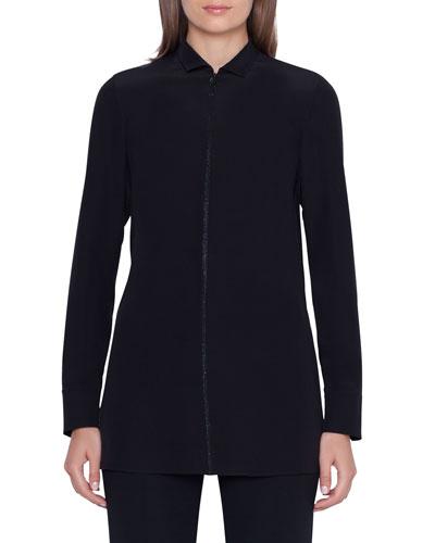 Long-Sleeve Embellished Silk-Crepe Tunic