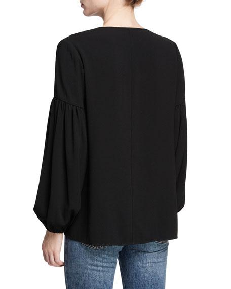 Self-Tie Long-Sleeve Peasant Top