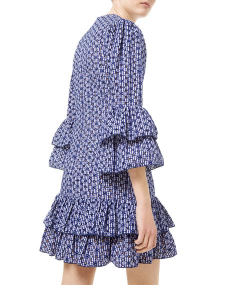 Gingham Floral Eyelet Tiered Dress