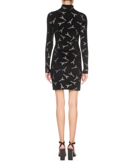 Long-Sleeve Mock-Neck Velvet Eiffel Tower Cocktail Dress