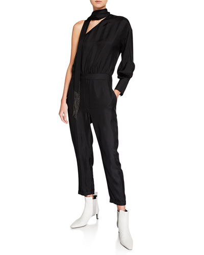 One-Shoulder Monili-Scarf Silk Jumpsuit