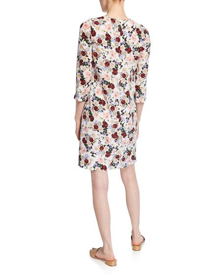 Emma 3/4-Sleeve Floral Sheath Dress