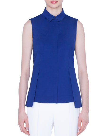Image 1 of 1: Sleeveless Zip-Front Peplum Shirt