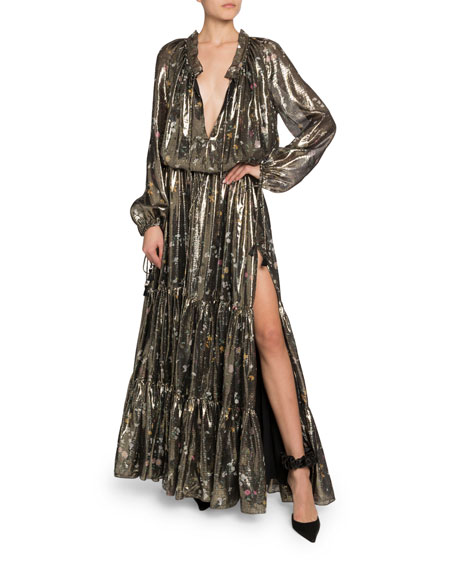 Image 1 of 1: Shimmer Long-Sleeve V-Neck Dress