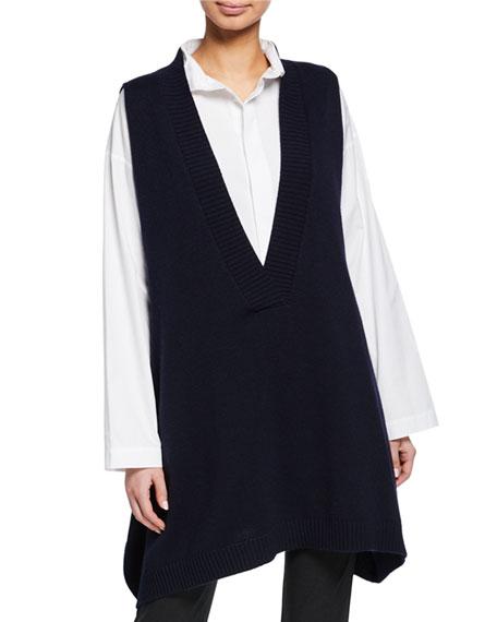 A-Line Sleeveless Deep-V Long Cashmere Sweater