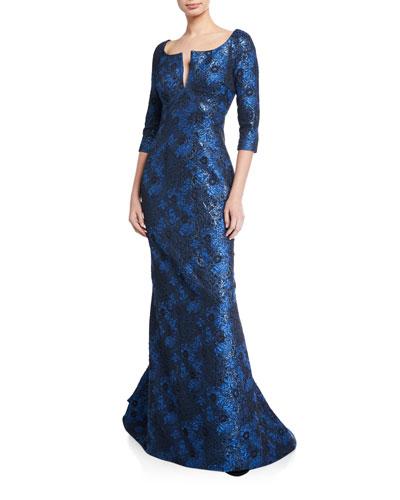 Brocade 3/4-Sleeve Trumpet Gown