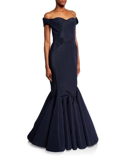 Off-the-Shoulder Mermaid Taffeta Gown