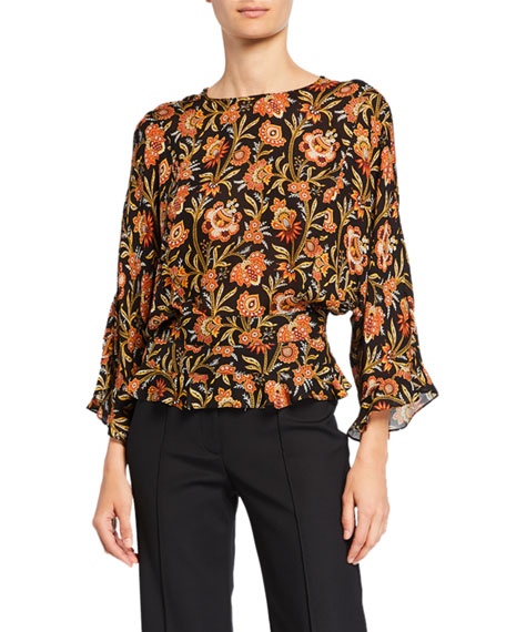 Image 1 of 1: Short-Sleeve Indian Floral Print Ruffled Blouse