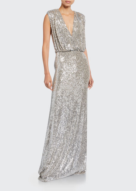 Sequined Deep-V Column Gown