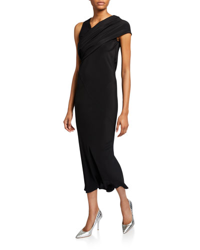 Asymmetric Draped Fitted Midi Dress