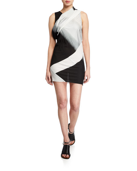 Geometric-Print Ombre Mini Dress