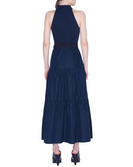 Belted Tiered-Poplin Maxi Dress