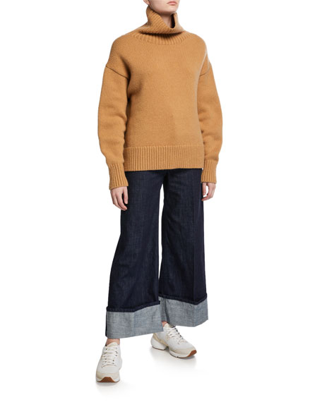 Cuffed Straight-Leg Jeans