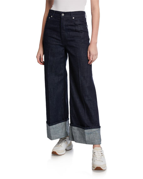 Image 1 of 1: Cuffed Straight-Leg Jeans