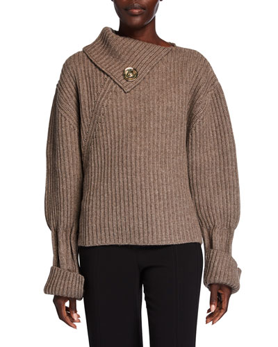 Chunky Wool-Cashmere Foldover-Neck Sweater