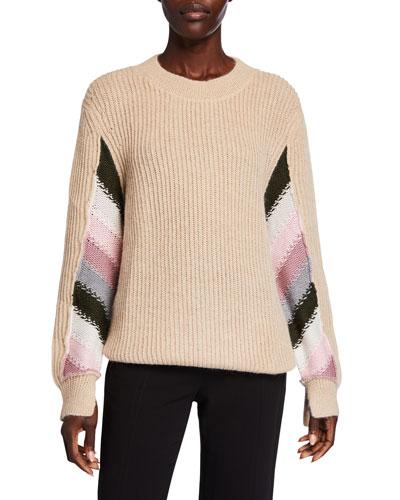 Striped-Sleeve Wool Crewneck Sweater