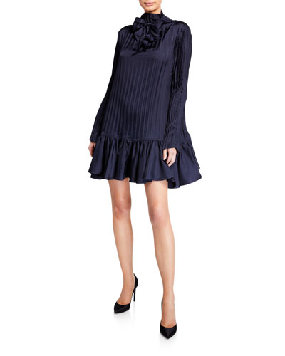 Ruffled High-Neck Dress