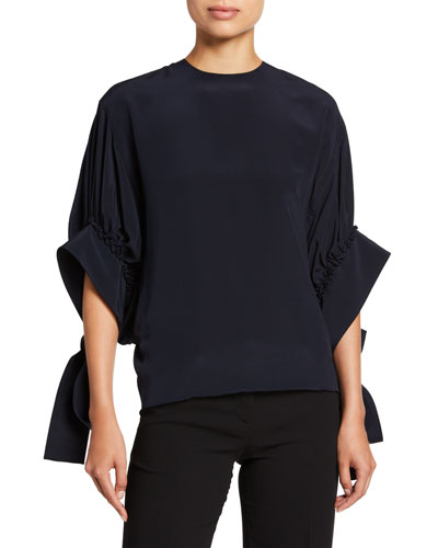Crepe de Chine Exaggerated-Sleeve Top