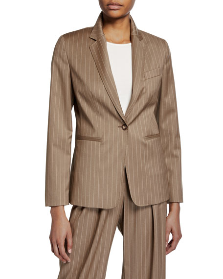 Kuens Pinstriped Virgin Wool One-Button Jacket