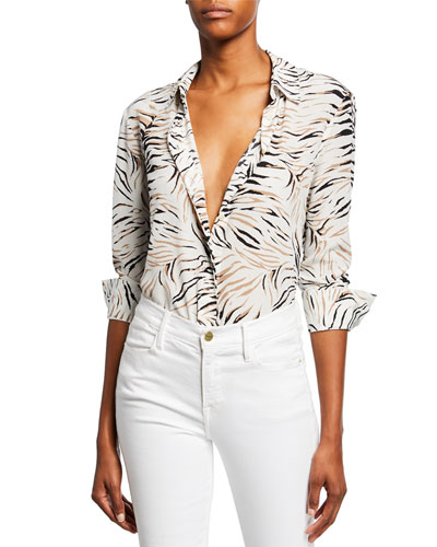 Chika Long-Sleeve Tiger-Print Shirt