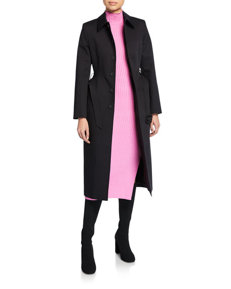 Single-Breasted Button-Front Trench Coat