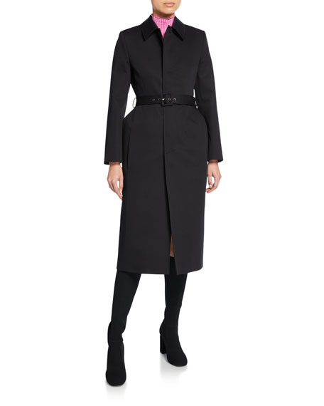Image 1 of 1: Single-Breasted Button-Front Trench Coat