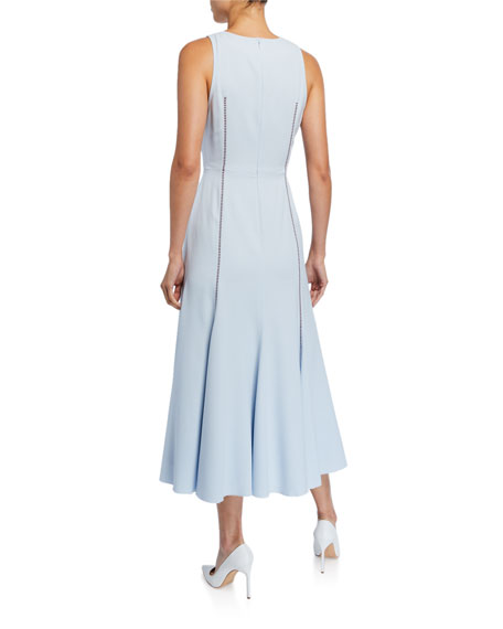 Annabelle Contrast-Stitched Sleeveless Silk Crepe Dress