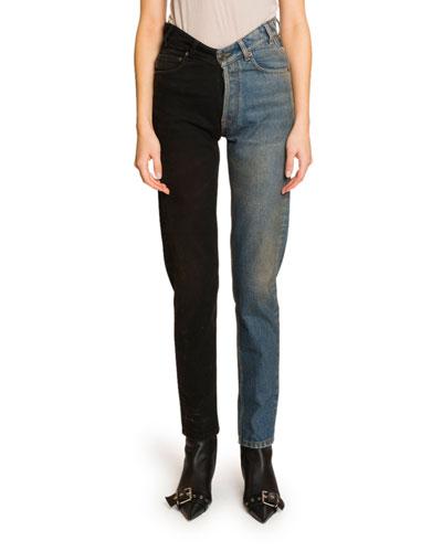 Two-Tone V-Waist Jeans