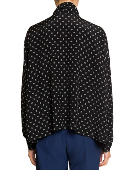 Cropped Tie-Neck Top