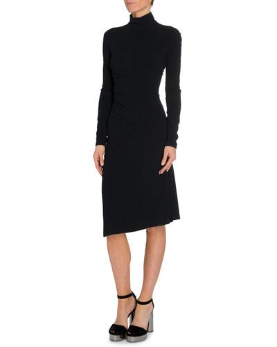 Shirred Side Turtleneck Dress