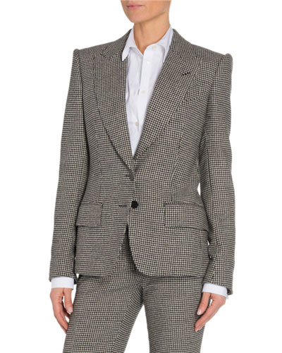 Houndstooth Two-Button Jacket