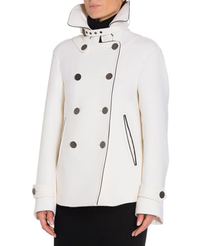 Double-Breasted Leather-Trim Wool Jacket