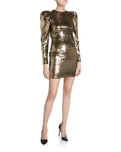 Sequined Puff-Sleeve Mini Dress