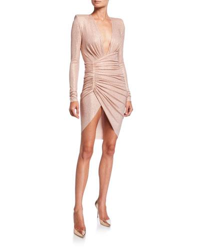 Micro-Crystal Deep-V Dress