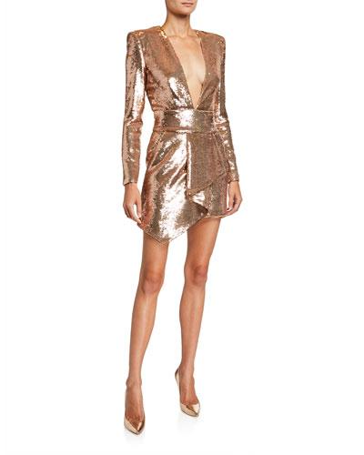 Sequined Asymmetric V-Neck Dress